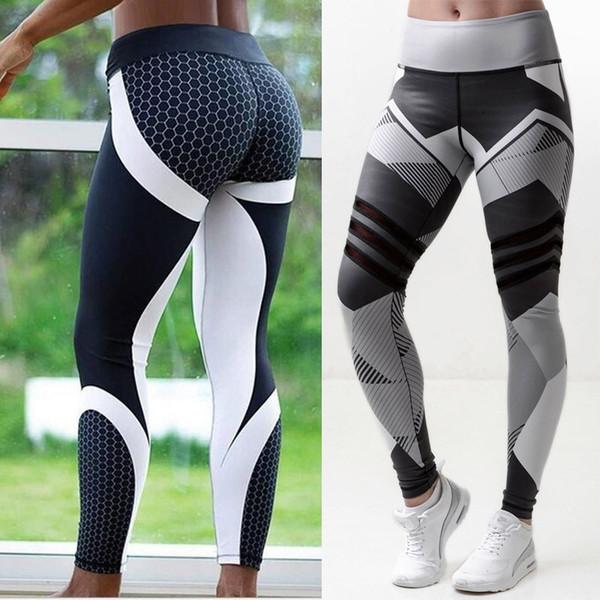 Neue Mesh Muster Print Leggings fitness Leggings Für Frauen Sport Workout Leggins Elastische Hose Schlank Schwarz Weiß Hosen