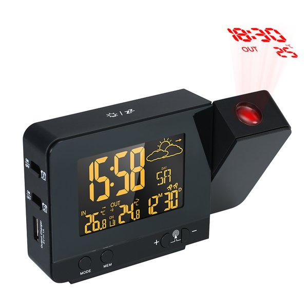 Digital Alarm Clock Radio-Controlled Projection Alarm Clock Weather Station Calendar Display Dual Snooze Function 100-240V