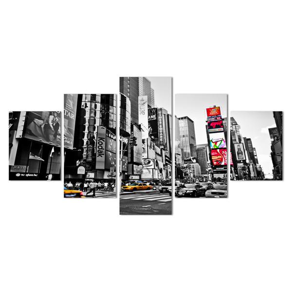 2018 Ventas Calientes Marco 5 Paneles de Imagen Ciudad de Nueva York Hd Impresión de la Lona Pintura Obra de Arte de Pared Arte de la Lona Pintura Al Por Mayor Y18102209