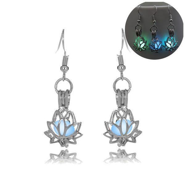 luminous bead lotus earring hollow locket flower stud Dangle & Chandelier Halloween lucky glow in the dark earrings for women drop ship