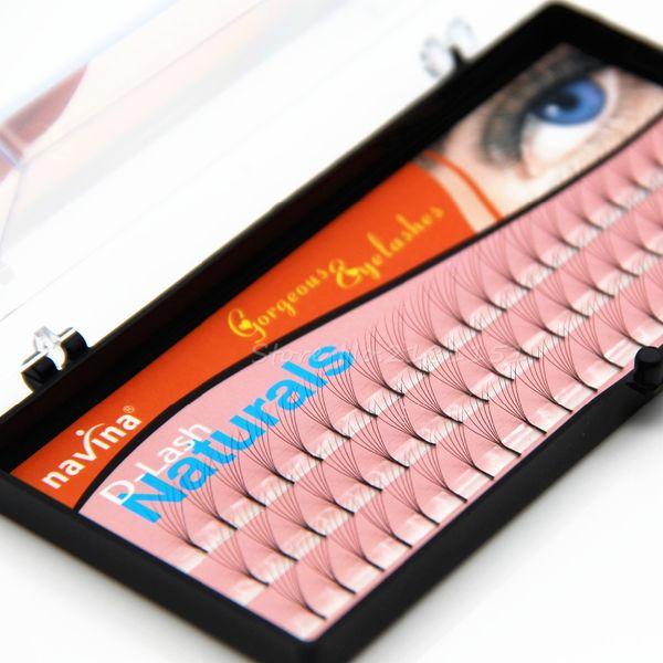 NAVINA 6 Roots 60 Natural Long Black Individual False Eyelashes Eye Lash Extension Kit Soft 12mm 10mm 8mm Eye lashes Extensions Beauty