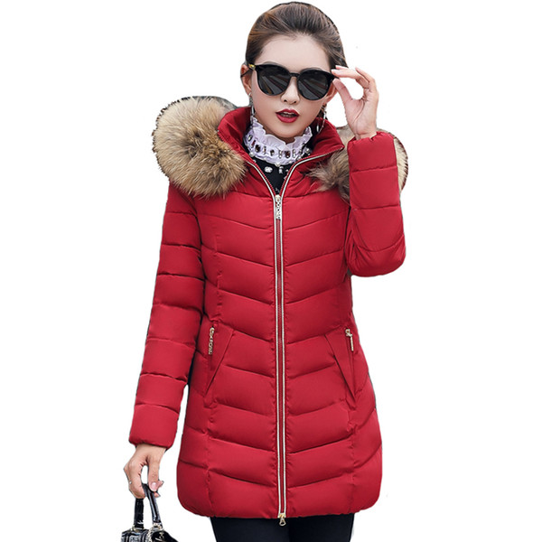 Winter Down Jackets Women Long Parka Hooded Coat Fake Raccoon Large Fur Collar Lady Cotton Padded Outerwear Plus Size 5XL 6XL