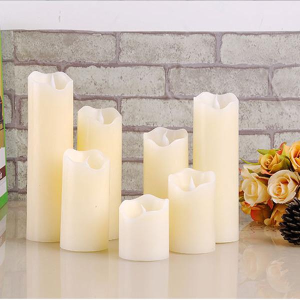 3pcs Flameless Led Candle Lamp For Wedding Party Decoration Romantic Pillar Irregular Wave Bevel Bougies