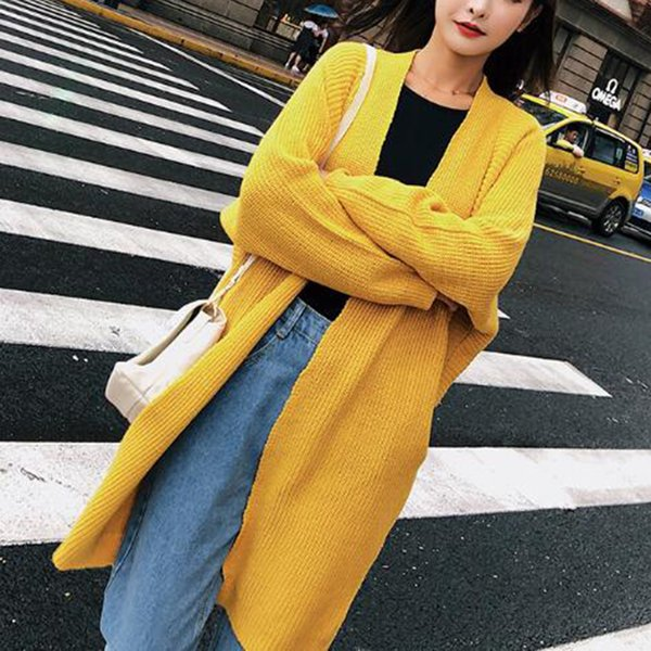2018 New Autumn Casual Knitted Kimono Cardigan Korean Women Loose Solid Color Pocket Oversized Female Outerwear Sweaters Clothes