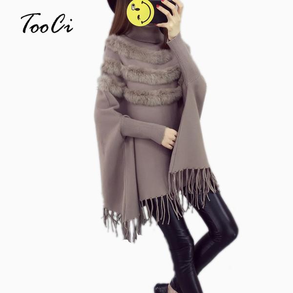 Neue Mode Herbst Und Winter Frauen Hohe Kragen Echten Kaninchenfell Mantel Pullover Dame Fledermaus Ärmel Quaste Poncho Pullover