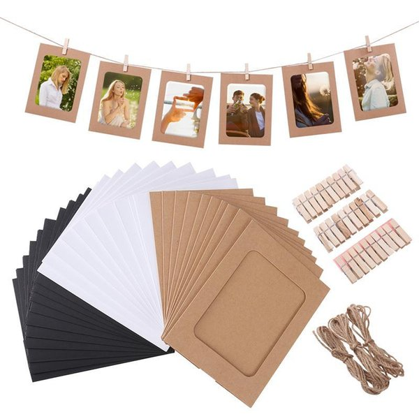 30pcs DIY Kraft Paper Photo Frames Hanging Wall Decoration with 30pcs Clips and 3pcs Hemp Ropes Set for 4.5x6in Pictures