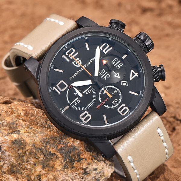 mens watches top brand luxury PAGANI DESIGN genuine leather quartz-watch men Outdoor Sport Chronograph reloj hombre wrist watch