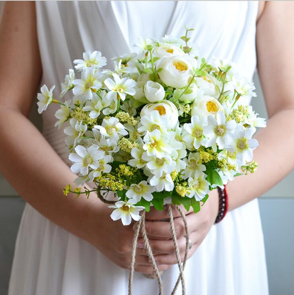 Country Style Bridesmaid Bridal Bouquets Artificial Daisy Braided Rope Handle Flower Wedding Bouquet White Brooch 2018 Handmade