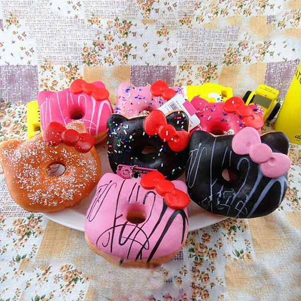 2018 Jumbo Hello Kitty Donut Squishy slow rising Cell Phone Charm Emotional venting tool packages food toys kitchen