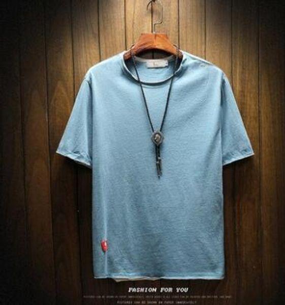 Verão de manga curta t-shirt dos homens em torno do pescoço nova versão coreana da tendência de algodão juvenil estudantes de cor sólida Magro lazer