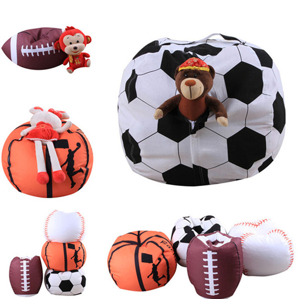 Storage Bag Football Kids Stuffed Animal Plush Toy Bean Bag Basketball Pouch Stripe Fabric Chair Housekeeping Organizers 15pcs T1I878