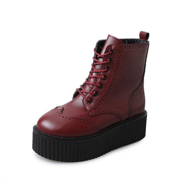 Frauen Lederstiefel High Heels Plateau Stiefeletten Damen Brogue Schuhe Frau britischen Stil Lace up schwarz 35-39