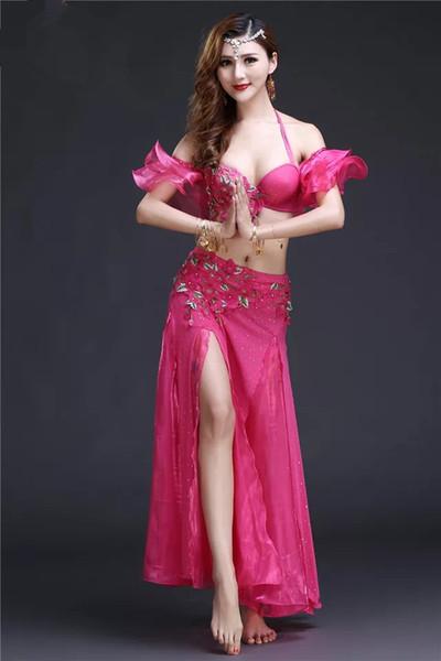 Bellydance orientalischer Bauch-indischer Zigeunertanz-Tanzkostümkostümkleidung-Büstenhaltergurt-Kettenschalring-Rockkleid-gesetzte Klage 455