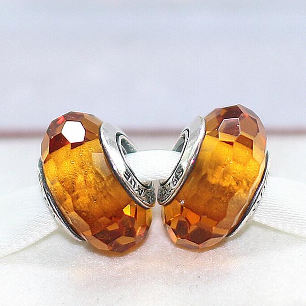 DIY Loose Beads Handmade Lampwork 925 Sterling Silver Glod Faceted Murano Glass Charm Bead Fits European Pandora Jewelry Bracelets