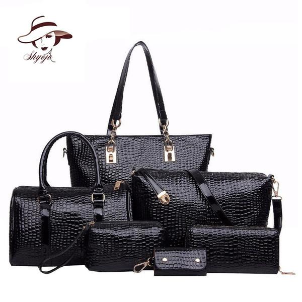 6 Set Luxury New Fashion Brand Designer Crocodile Patent Leather Composite Bag Handbag+Shoulder Messenger Bag+Clutche Purse Tote Y18102304