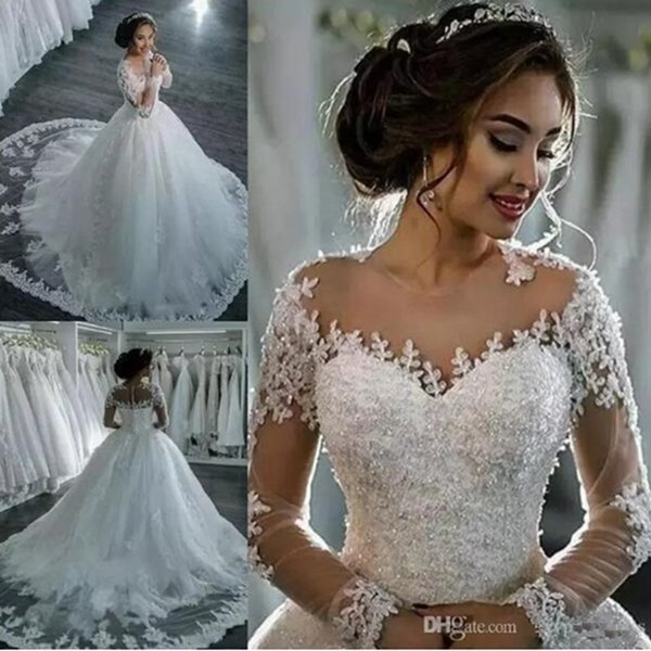 Amazing Sheer Neck Wedding Dresses Lace Appliques Ball Gown Beads Illusion Long Sleeves Bridal Gowns Sweep Train Custom Made Wedding Dress