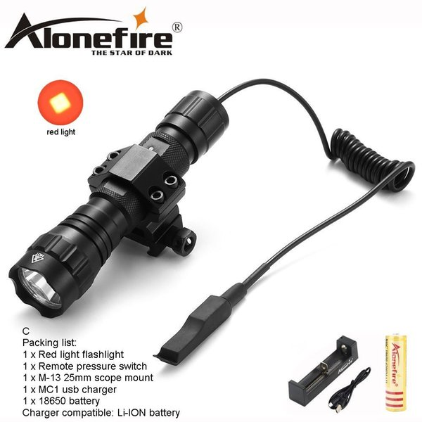 AloneFire 501Bs Tactics flashlight CREE XML Red Light Color LED Tactical Hunting With Switch Tactics Mount Camping for 18650 battery