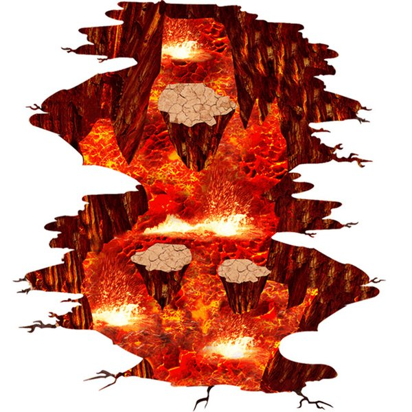 Large Magma 3D Decorative Floor Stickers Lava Vinyl Mural Decals for Living Room Bedroom Home Decor