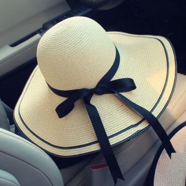 Summer Hat Women Fashion Straw Ribbon Round Big Wide Sun Hats Beach Panama Straw Hat 2018 Hot Sale Chapeu Feminino Foldable