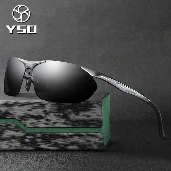 YSO Sunglasses Men Polarized UV400 Aluminium Magnesium Frame Sun Glasses Driving Glasses Semi Rimless Accessories For Men 8546