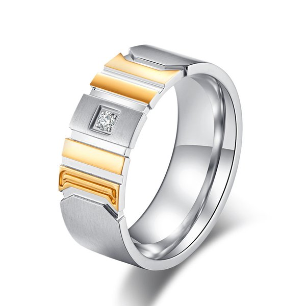 Fashion Charm Stainless Steel Zircon Rings for Men Punk Engraved Pattern Wedding Band Finger Rings Men's Jewelry Anel Masculino