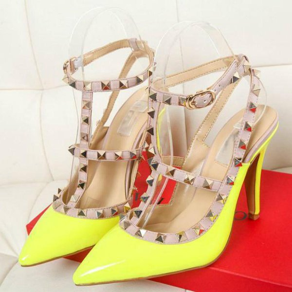 Women's high-heeled shoes European station new brand shoes with high-heeled patent leather 15 color factory outlet