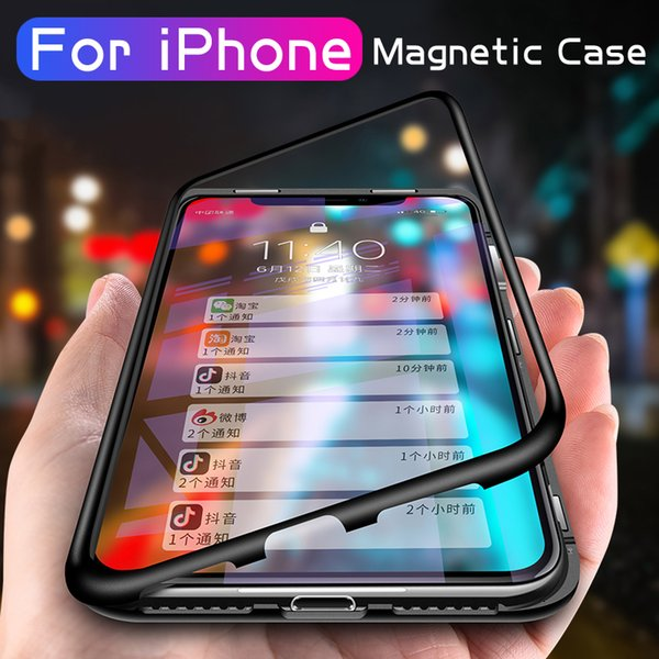 Magnetic Aluminum Metal Case For Apple iPhone XS Max XR X 10 Toughed Clear Tempered Glass Magnet Adsorption for iphonex Cover