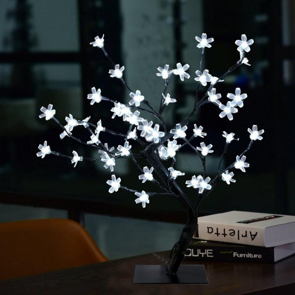 Upscale Simulation Cherry Blossom Flower Glow Trees 40CM Tall 36 pcs LED Night Lights for Christmas Wedding Window Indoor Decorations