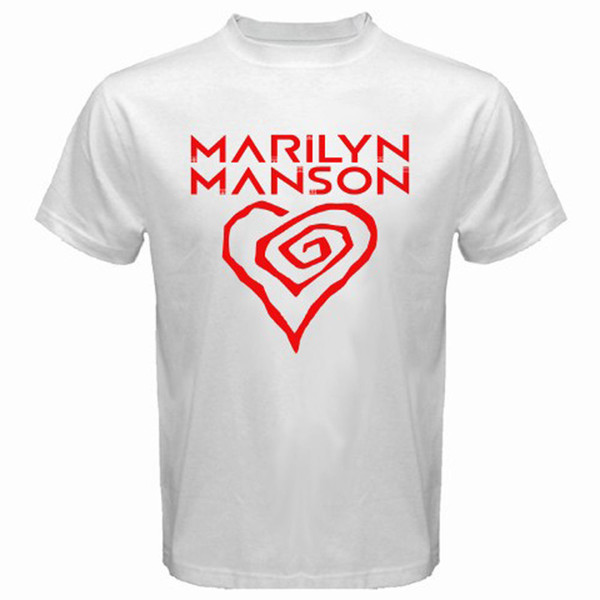 edb68d2e8c90 New Marilyn Manson Heart Logo Rock Music Icon Men'S White T Shirt Size S To  3xl T Shirt O Neck Summer Personality Fashion Men Funny Tee Shirts Mens T  Shirt ...