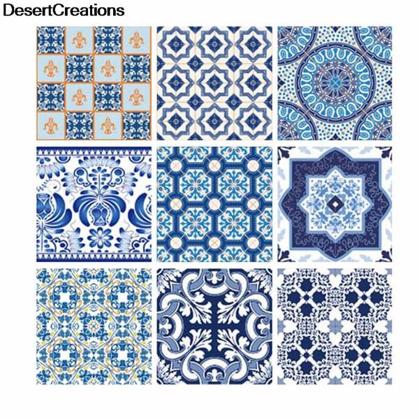 10pcs / set Vintage bleu et blanc porcelaine autocollant autocollant mural autocollant de sol anti-huile papier peint couleur cuisine salle de bain