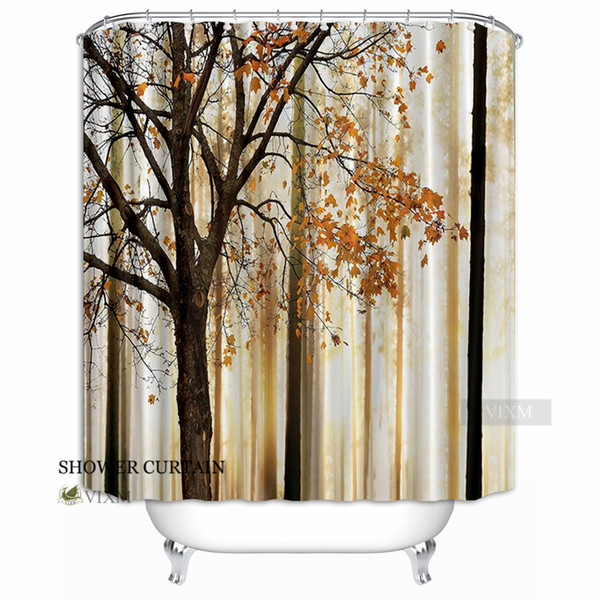 """Vixm Home Autumn Fallen Leaves Print Shower Curtain Orange Ivory Brown Beige Polyester Fabric Bath Curtain With Hook Rings 72"""" X 72"""""""