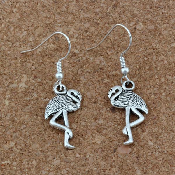 Flamingo Crane Ohrringe versilbert Fisch Ohr Haken 24pairs / lot Antik Silber Kronleuchter Schmuck 12x40.5mm A-272e