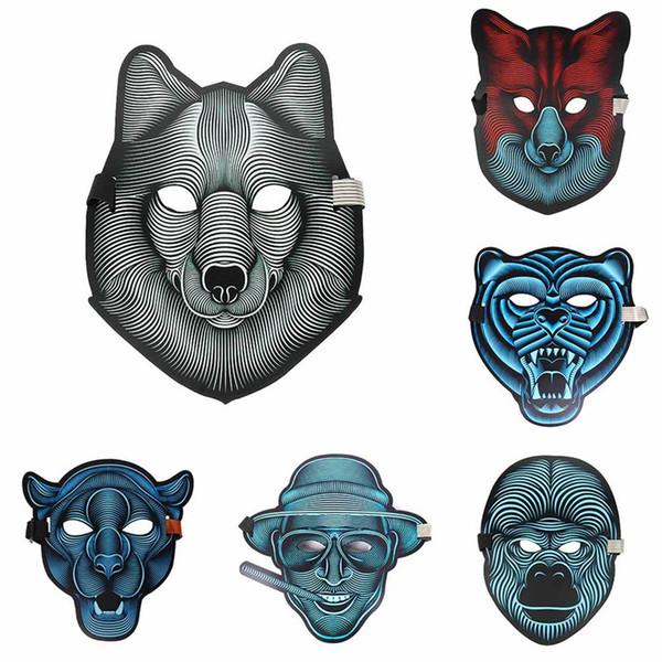 Nuovo design Sound Activated Halloween EL Mask, maschera di Halloween Party The Sound Reactive Led Mask spedizione gratuita