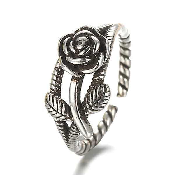 Promotion 925 sterling silver retro style rose flower women birthday gift ring lady finger open rings wholesale no fade cheap