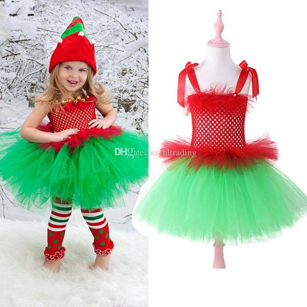 Baby girls Christmas Tutu Lace Tulle dress children Xmas suspender Dot princess dresses boutique performance costume Kids Clothing C5470