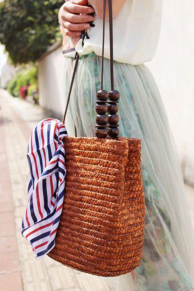 10pcs Beach bag Knitting Holiday Shoulder Bags Designer Casual Crochet Straw Weekender Ladies Bucket Drawstring Beads Bag Brand Tote bags