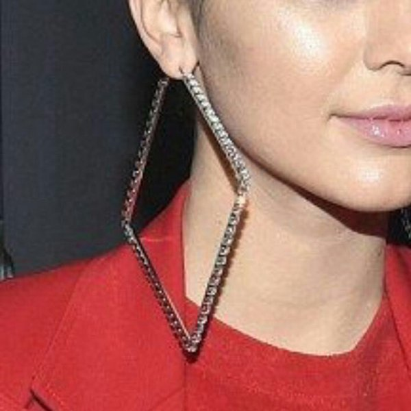 hoop MANILAI Luxury 80mm Square Metal Big Hoop Statement Jewelry Rhinestones Earrings For Women Wedding Jewelry Brincos 2018