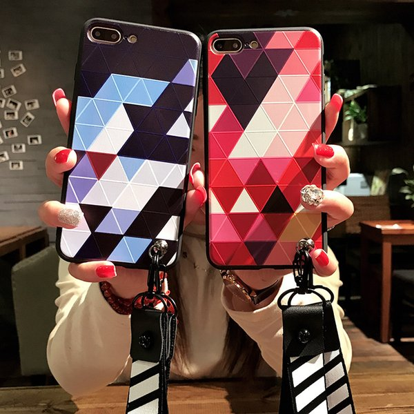 Fashion Phone Case for IPhone X 6/6S 6plus/6S Plus 7/8 7plus/8plus Individual Diamond Lattice Style Mobile Phone Case with Lanyard 2 Color