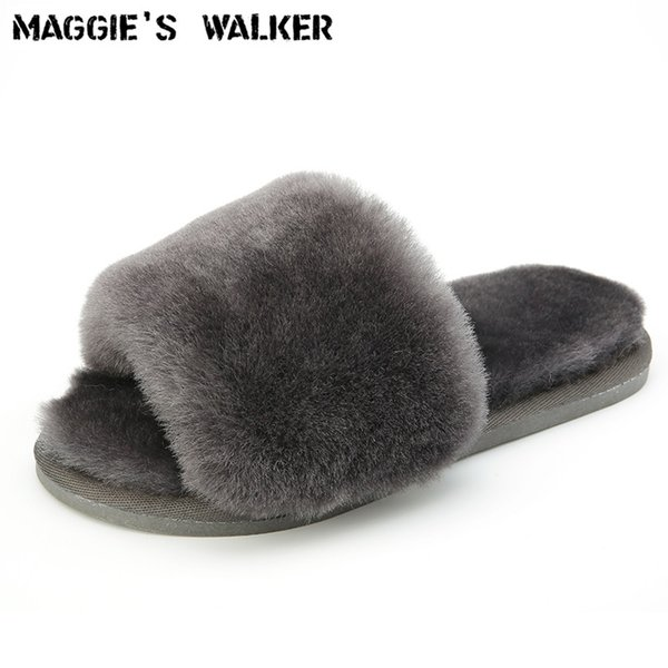 Maggie's Walker Women Fashion Sheep Hair Slippers Candy-colored Fur Indoors Flip-flops Real Fur Size 35~40