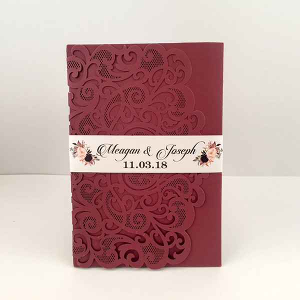 2019 Marsala Burgundy Pocket Wedding Invitations Die Cut Shimmy Trifold Wedding Invites with Belly Band 20+Color, Provide Free Printing