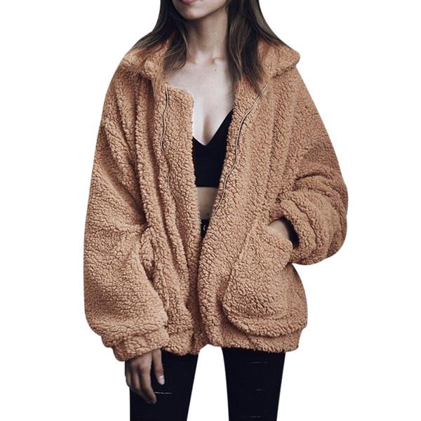 Al por mayor-Plus Size S-3XL Moda para mujer Fluffy Shaggy Faux Fur Warm Winter Coat Cardigan Bomber Jacket Lady Coats Zipper Outwear Chaquetas