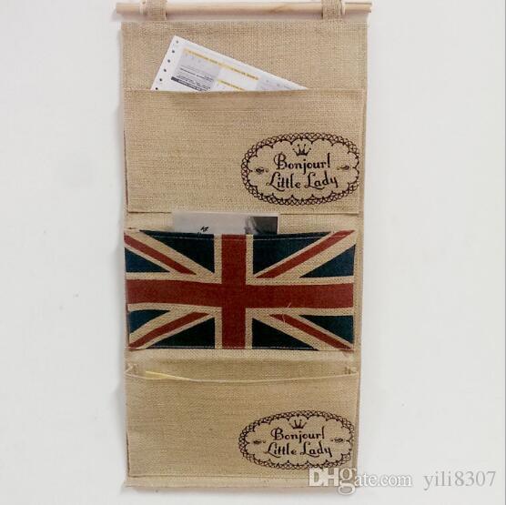 Creative Flag Burlap Cotton Linen Door Hanging Bag 3 Pockets Wall Mounted Storage Bag Sundries Organizer Pouch Eco-friendly Waterproof Bag