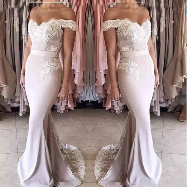 mermaid bridesmaid dresses long off-shoulder zipper back formal wedding party gowns off shoulder girls junior maid of honor dress cheap, White;pink