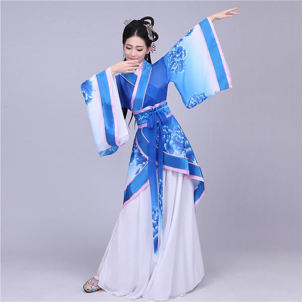 Chinês antigo Traje roupas de dança de fadas Azul e Branco hanfu feminino le chinois ancien traje de vetements Disfraz de chino
