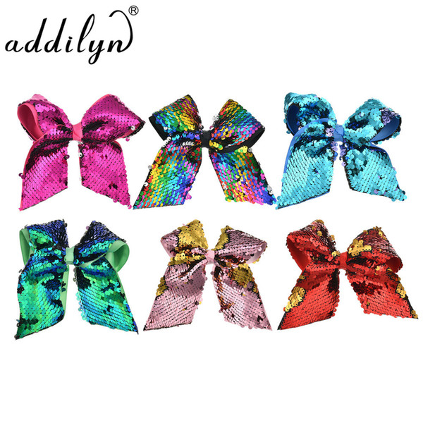 """1pcs 8"""" Large Sequin JoJo Bow With Hair Clip For Girls Handmade Bling Rainbow Knot Hair Bows Lady Hairgripd Accessories"""