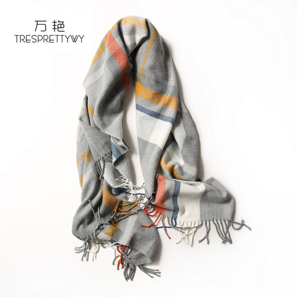 TRESPRETTYWY 2017 New Style Bump The Color Shawl Scarf Plaid Striped Scarf Knit Wool Autumn Winter For Women