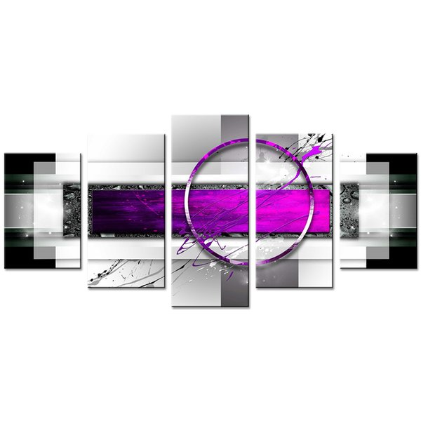 Amosi Art Canvas Painting Purple Abstract Geometric Drawing Print Art Canvas Painting Decor Artwork 5 Pieces Framed