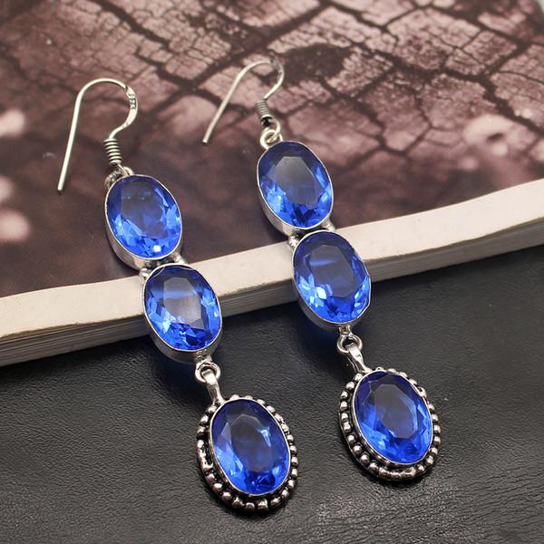 Gems envio brilhante Ocean Blue Topaz925 Sterling Silver senhoras Dangle brincos 2 7/8 Inch TF542 gratuito
