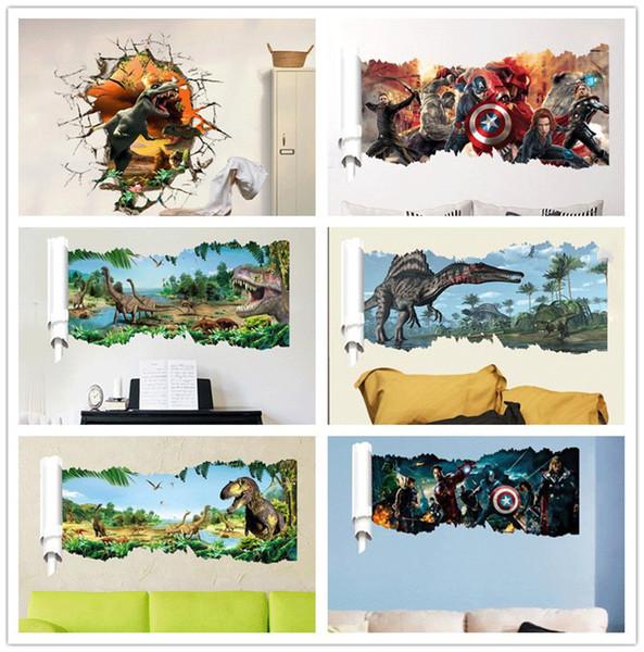 dinosaur stickers Cartoon Movie Dinosaur Sticker Super Hero Wall Decals for kids rooms Child Wallpaper Boy's Room Art Decor Decals