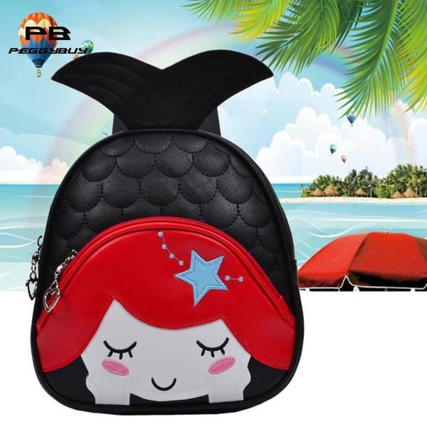 3D Fish Tail Waterproof Backpack Children Cute Cartoon PU Leather Soft School Backpack Zipper Bag School for Kindergarten Baby